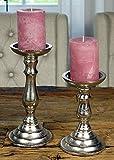 MichaelNoll 2er Set Kerzenständer Kerzenhalter Aluminium Silber Deko - Kerzenleuchter Modern für Stumpenkerzen - Tischdeko Hochzeit - Dekoration Wohnzimmer - H 18,5 cm / 24 cm