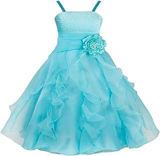 SOFYANA Wish Little Baby Girls Ston Work Sky Blue Strap Body Flare Length Maxi Dress (Kids_Wlt_090)