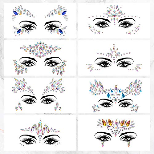 Colmanda Face Gems Stickers, 8 Piezas Face Jewels Pegatinas de Piedras Preciosas Pegatinas Cara Joyas Cara Gems Pegatinas Festival para Ojos Cara Decoración
