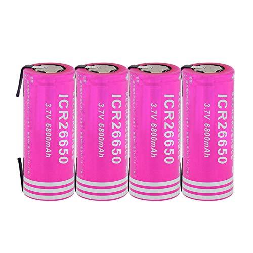 MNJKH BateríAs De ión De Litio De 3.7v 6800mah 26650, Batería Recargable para La CáMara Digital 4pieces