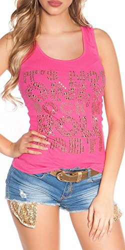Koucla Feinripp-Tanktop mit Strass und Nieten - Moderne Farben * Einheitsgröße 34 36 38 * Top Damen Ärmellos Tank Shirt (X052 Pink)