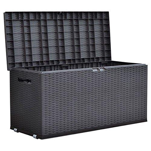 Jelenia Plast Gartentruhe Nizza Rattan-Design Rollbox Auflagenbox Kissen Aufbewahrung Truhe