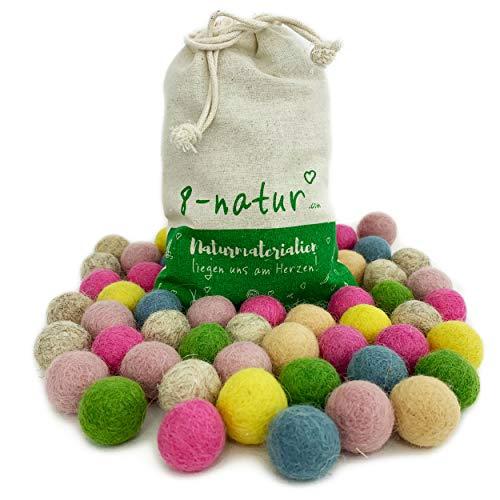 """8-Natur """"Mix Glück"""" Bunte Mischung aus 50 Filzkugeln 2,2cm dick aus Reiner Merinowolle zum Basteln von Girlanden, Baby Mobile und Filzkugelteppich oder einfach nur zur Deko"""