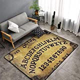 Dangerous Magical Game Ouija Board Pattern Area Rug, Bedroom Living Room Kitchen Rug, Doormat Floor Mat Standing Mat, Children Play Rug Carpet Bathroom Rug Mat, Throw Rugs Carpet Yoga Mat