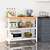 Tribesigns Kitchen Island Cart with Storage Shelves, 3 Tier Kitchen Cart with Bamboo Countertop,...