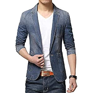 Men's Pockets Denim Blazer Slim One Button  Big Tall Notch Lapel Outw...