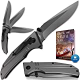 Spring Assisted Knife - Pocket Folding Knife - Military Style - Boy Scouts Knife - Tactical Knife - Good for Camping Indoor and Outdoor Activities FL 140106
