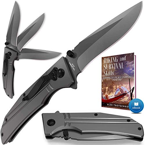 Spring Assisted Knife - Pocket Folding Knife - Military Style - Boy Scouts Knife - Tactical Knife - Good for Camping, Indoor and Outdoor Activities FL 140106