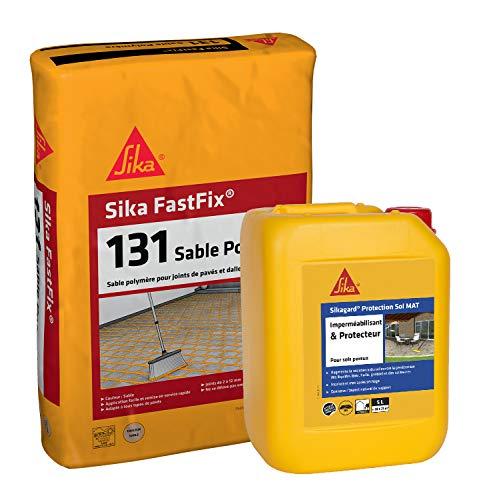 Kit joint sable pavé avec protection effet MAT: Sika Fastfix sable polymère ton sable 20kg + Sikagard Protection Sol Mat Hydrofuge pour pavés et dalle 5L