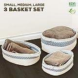 3 Pack Nursery Storage Basket Set - Small Medium & Large Organic White & Gray...
