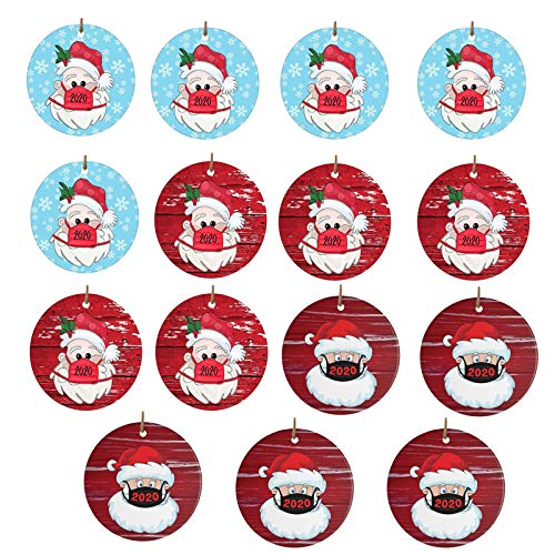 Moent 15PC Christmas Ornament, 2020 Christmas Santa Claus Wearing A Face Covering Xmas tree Decorations