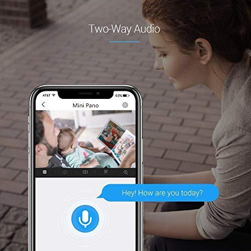 EZVIZ Mini Pano Cámara de seguridad 3MP 2.4Ghz & 5Ghz WIFI Doble Banda, Vigilancia Audio Bidireccional, Visión Nocturna, EZVIZ Nube disponible, Compatible con Alexa, Google home y IFTTT