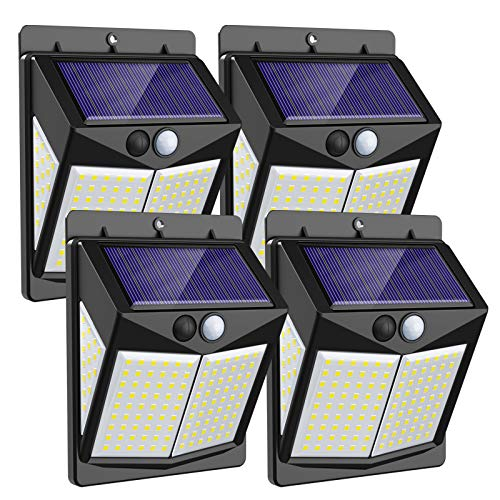 Svotek 140 LED Solar Lights Outdoor Wireless Motion Sensor Lights with 3 Model,Smart Brightness Control with IP65 Waterproof with Wide Angle 270°,Easy Install in Garden,Yard,Front Door,Garage(4 Pack)