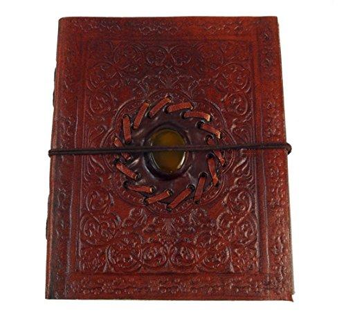 Guru-Shop Notebook, Cuero, Diario con la Decoración de Piedra 12 x 15 cm, Cuadernos y Diarios