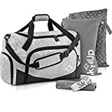 Skyllup 5-in-1 Gym Bag with Shoe Compartment Bundle + 2x Wet Bags + 2x Microfiber Towels, 50L Gray Duffle Bag for Fitness, Sports, Workout and Travel, Waterproof Weekender Bag for Men and Women