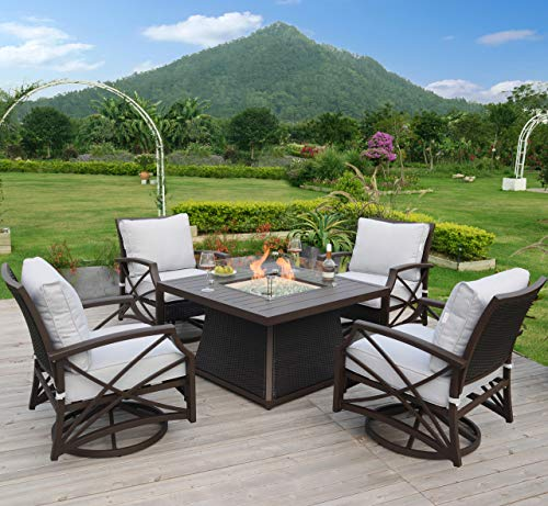 Kinger Home Propane Fire Pit Table Set, 5 Pieces Fire Pit Set, 42 Inch 50,000 BTU Firepit Table, Rattan Wicker Swivel Chairs with Blue Outdoor Cushions, Patio Furniture with LP Fire Pit