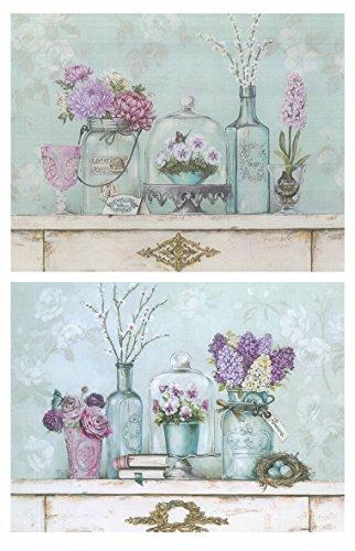 Cuadros Motivo Floral Tonos fríos Pastel Violeta - Azul Set de 2 Unidades de 19 cm x 25 cm x 4 mm unid. Adhesivo FÁCIL COLGADO. Adorno Decorativo. Decoración Pared hogar