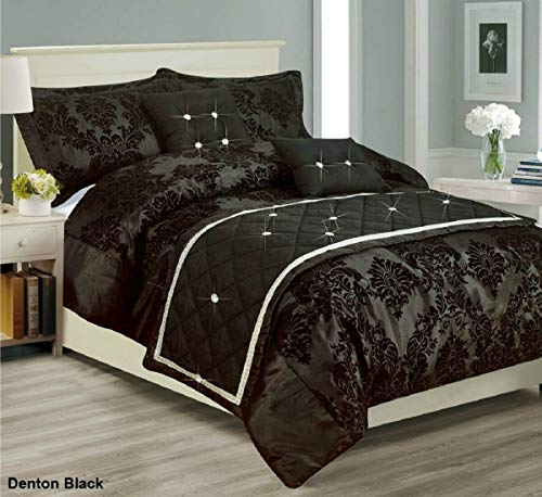 Householdfurnishing Fully Flocked Damask pattern 3 Piece Duvet/Quilt Cover 2 Oxford Pillow Shams Bedding Set (Black, Double)