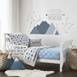 Levtex Baby - Trail Mix Toddler Bed Set - Grey, Navy and Blue - Bear Mountain - 5 Piece Set Includes Reversible Quilt, Fitted Sheet, Flat Sheet, Pillow Case, Decorative Pilow