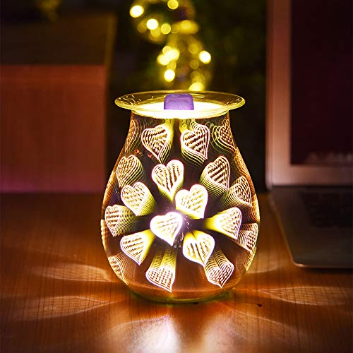 YUNYODA Glas-Aromatherapie-Lampe, 3D-Aromalampe, elektrischer Schmelzwachs-Brenner, Nachtlicht, Wachswärmer für Zuhause, Büro, Wohnzimmer, Dekoration, Geschenke