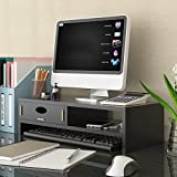 Supporto Monitor Pc Da Scrivania,con Cassetti Multifunzionale Salvaspazio Desktop Organizer Tastiera Vassoio Noce Nera 50x20x13.2cm(20x8x5inch)