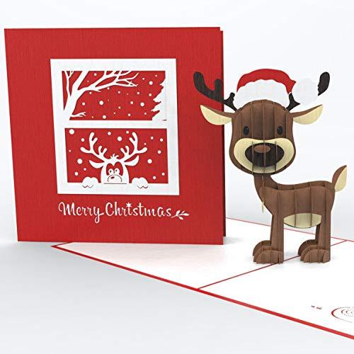 3D Weihnachtskarte - Rentier mit Nikolausmütze - mit Umschlag als Gutscheinkarte oder Verpackung von Geldgeschenken und Gutscheinen zu Weihnachten - Geschenkkarte - Merry Christmas Card