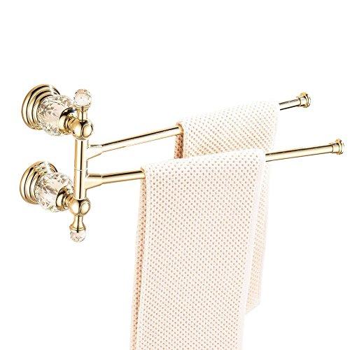 CASEWIND - Toallero de Barra Giratorio de 2 Toallas, Estructura de aleación para baño Acabado en Oro Pulido, Superficie sólida de Lujo Estilo montado en la Pared, Aleación, Dorado, Rotate 2 Towel Bar