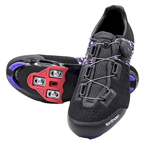 Tommaso Pista Aria Elite Women's Spin Class Ready Cycling Shoe and Bundle - Black/Purple - Look Delta - 39