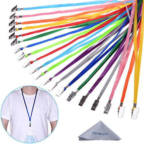 Wisdompro 30 Pack 17 inch Colorful Blank Flat Woven Nylon Neck Strap Lanyard with Metal Bulldog Clip Attachment for Face Mask, Office ID Name Tags and Badge Holders - Assorted Color