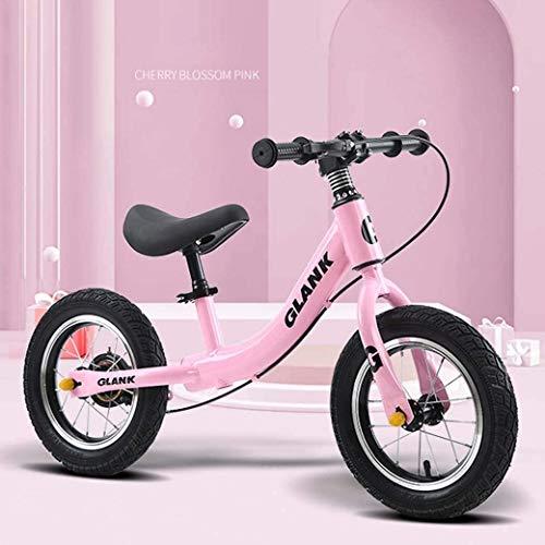 LAMTON Gleichgewicht Bike Scooter 2-6 Jahre alt Kinder Kinder - höhenverstellbarem Sitz - Baby Walker luftgefüllten Gummireifen for Kleinkinder - kein Pedal-Roller-Fahrrad, Rosa, Brems Modelle