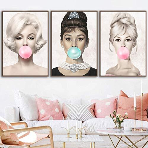 3PCS Audrey Hepburn Bubble Gum Canvas Wall Art Canvas Wall Decor Brigitte Bardot Poster Print on Canvas Home Decor Famous Actresses Portrait Canvas Painting for Bedroom Decor Frameless
