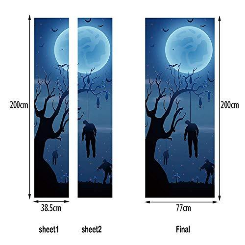 LTT& 3D Renovierung Halloween Zombie Tür-Wandbilder Entfernbar Selbstklebend Tapete Haus Dekoration 77 X 200 cm MT286
