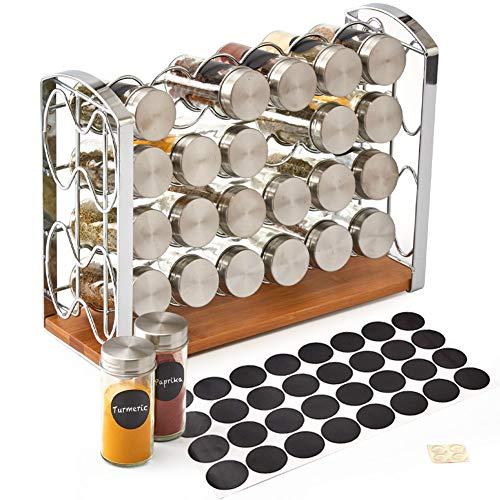EZOWare Especiero, Estante Organizador de Especias con 24 Botes Vacíos de Cristal y Etiquetas de Pizarra para Encimeras, Gabinetes, Armario, Cocina, Despensa - Plata
