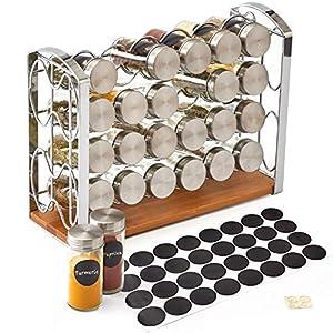 EZOWare Especiero, Estante Organizador de Especias con 24 Botes Vacíos de Cristal y Etiquetas de Pizarra para Encimeras, Gabinetes, Armario, Cocina, Despensa – Plata