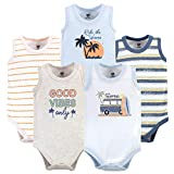Hudson Baby Unisex Baby Cotton Sleeveless Bodysuits, Gone Surfing, 0-3 Months
