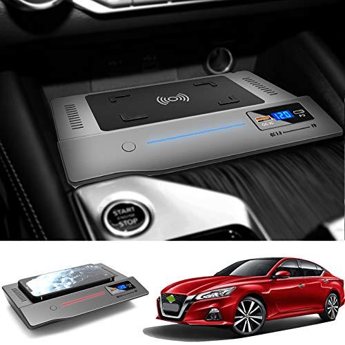 Cargador de coche inalámbrico para Nissan Teana 2019 2020 2021, 15 W QC3.0 Cargador de teléfono de carga rápida con puertos USB de 18 W y puerto PD de 18 W para iPhone 12 Pro MAX Mini 11 / XS MAX /