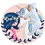 Yumansis Unicornio con Niña Alfombra Redonda Alfombra Antideslizante Alfombra Lavable Piso Sala de Estar Dormitorio Estudio niños Yoga Sala de Juegos Alfombra Super Suave 70x70cm