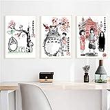 NR Hayao Miyazaki Film Mon Voisin Totoro Chihiro Art Affiche Impression sur Toile décoration de la Maison image-50x70 cm x 3 sans Cadre