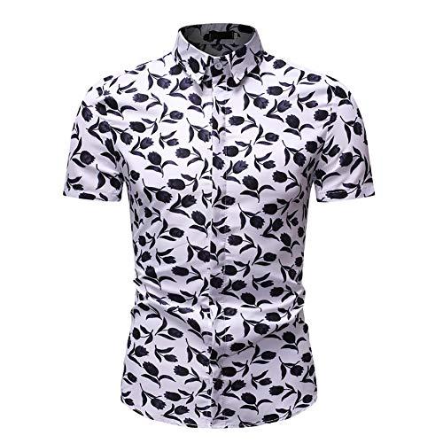 ZHNELYJ Herren Sommerhemd, Schwarzes Strickmuster Cardigan T-Shirt, Stilvolles LäSsiges Revers Sport Bottoming Shirt,Weiß,XXL