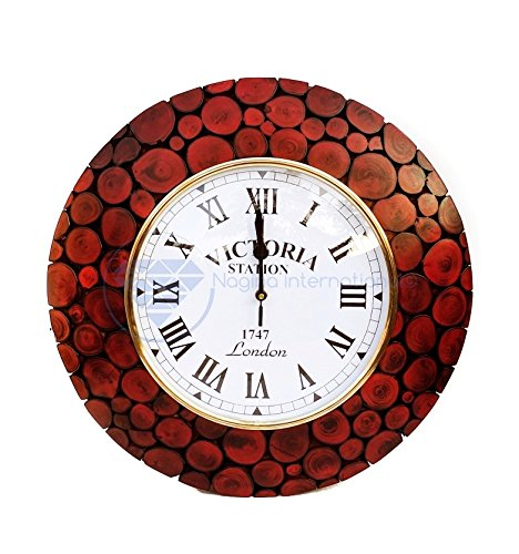 Nagina International Horloge Murale colorée décorative en Bois de première qualité, conçue avec des tranches de Bois Rond, avec Une Finition en Velours Mat et Mat | Décor Mural Exclusif (Sang Rouge)