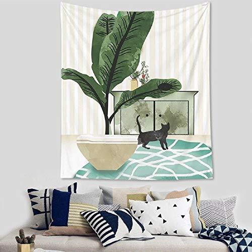 Tapiz de gato simple nórdico para colgar en la pared, hogar, sala de estar, dormitorio, fondo de pared, paño, manta decorativa, mantel 150x100cm