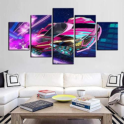 GONGXIANG Lienzo Art Deco De Pintura Moderna para Sala De Estar O Dormitorio Coche De Neón Abstracto De Dibujos Animados 5 Piezas De 80X150Cm XXL