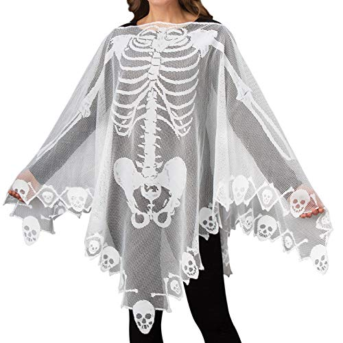 Halloween Costumes for Women Lace Skeleton Poncho Plus Size 57×57 inch White