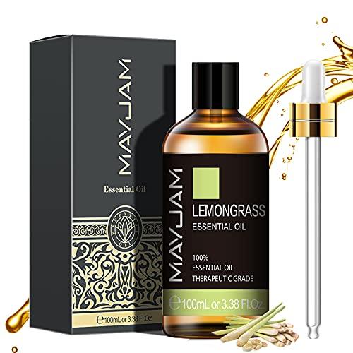 MAYJAM Lemongrass Essential Oils 100 ml, 100% Aceites Esenciales Naturales Puros, Aceite Esencial de Aromaterapia de Grado Terapéutico, Aceites de Fragancia para Relajación, Sueño, Regalos Perfectos