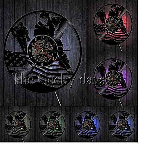ZhaoCJB Schallplatte Wanduhr Eishockey Wandkunst Jungen Schlafzimmer Dekorative Uhr Wanduhr Hockey Spieler Vintage Schallplatte Wanduhr Hockey Liebhaber Geschenk