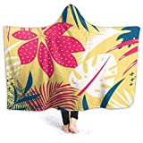 XCNGG Manta con capucha Tropical Leaves Yellow Background Hoodie Wearable Blanket Flannel Surper Soft Sofa Blanket Windproof Hooded Throw Wrap Shawl Thermal Hooded Coat Warm Hoodie Blanket for Bed Cou