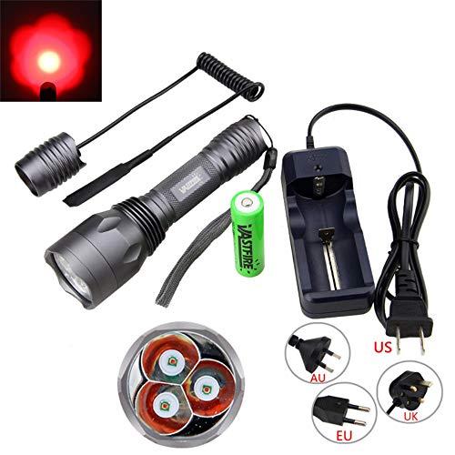 Taschenlampen, Tri LED Beam Torch Außenbeleuchtung Angeln Taschenlampe Reisen Camping, Taschenlampe mit Druckschalter, 10000 Lumen (Rot Beam), VASTFIRE