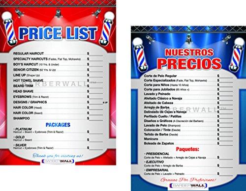 Barber Poster by [ Barberwall ] - Barber Shop Poster, Perfect Size (24 x 36) inches, Already Laminated for Durability - Barber Shop Price List in a Combo, a Must Have for All Barber Shop