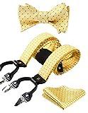 HISDERN Comprobar Raya 6 Clips Suspendedor & Corbata de mono & Plaza de bolsillo Set Forma Y...
