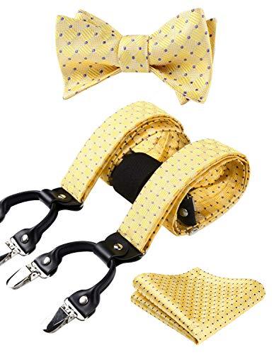 Hisdern Comprobar Raya 6 Clips Suspendedor & Corbata de mono & Plaza de bolsillo Set Forma Y Tirantes ajustables amarillo